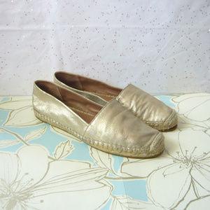 Halogen Gold Leather Espadrille Flats - Size 8 EUC